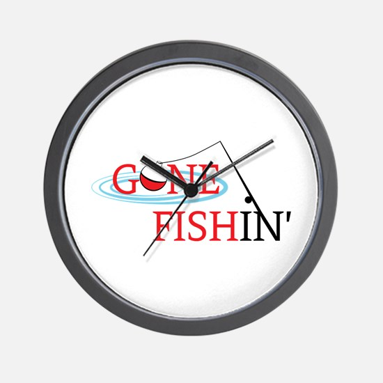 Gone fishing bobber and fishing pole Wall Clock