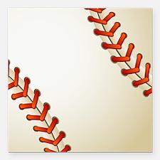 "Baseball Ball Square Car Magnet 3"" x 3"""