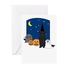 Flat Coat Howling Halloween Greeting Card