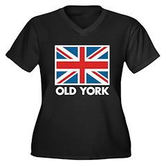 Old York Women's Plus Size V-Neck Dark T-Shirt