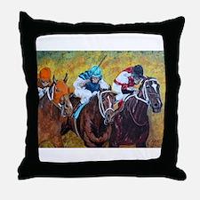 racing horses Throw Pillow