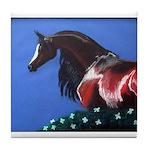 bay arabian horse Tile Coaster