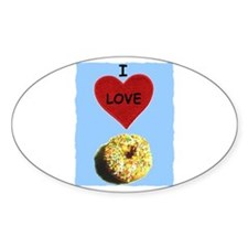 I LOVE DONUTS Oval Decal