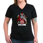 Peach Family Crest Women's V-Neck Dark T-Shirt