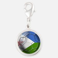 Djibouti Football Silver Round Charm