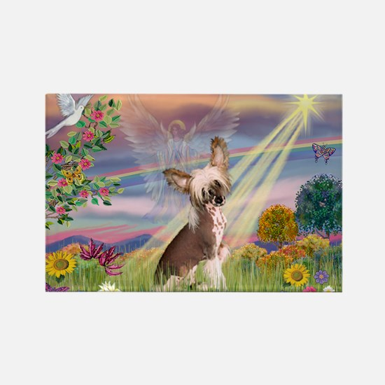 Cloud Angel/Chinese Crested Rectangle Magnet