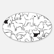 Cute White dachshund Sticker (Oval)