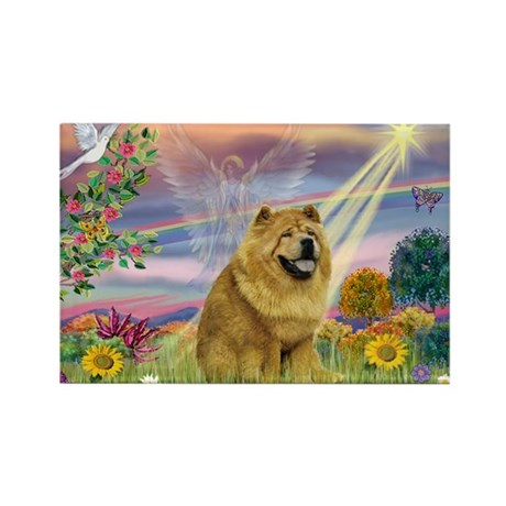 Cloud Angel & Chow Chow Rectangle Magnet