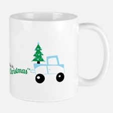 Christmas tree on truck car Mugs