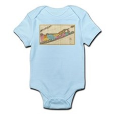 Vintage Map of Suffolk New York (1829) Body Suit