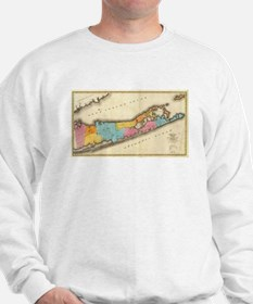 Vintage Map of Suffolk New York (1829) Sweatshirt