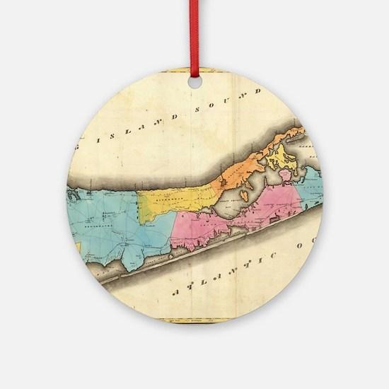 Vintage Map of Suffolk New York ( Ornament (Round)