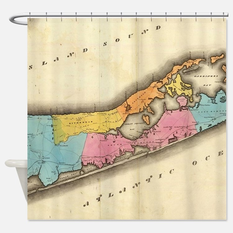 Vintage Map of Suffolk New York (18 Shower Curtain