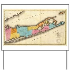 Vintage Map of Suffolk New York (1829) Yard Sign