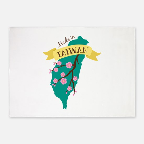 Taiwan Country Map Made in Plum Blossom Flower 5'x