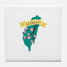 Taiwan Country Map Plum Blossom Flower Tile Coaste