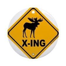 Moose X-ing Ornament (Round)