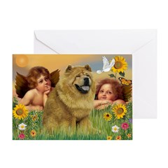 Angels & Chow Chow Greeting Card