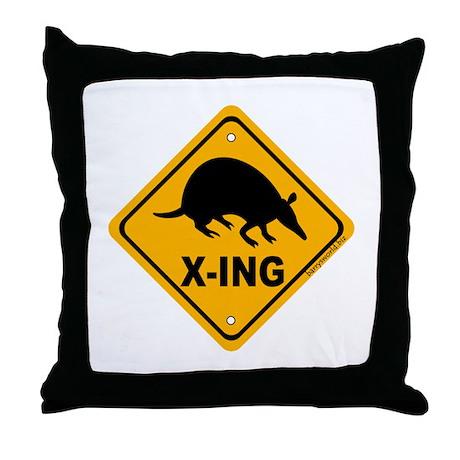 Armadillo X-ing Throw Pillow
