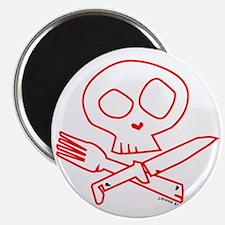 Red Foodie Skull Magnet