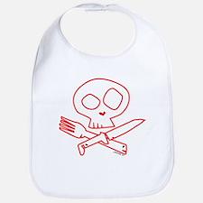 Red Foodie Skull Bib