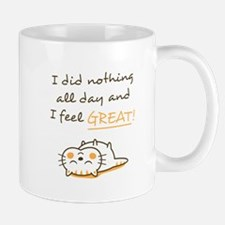 Cute Lazy Kitty Cat Do Nothing Amusing Mugs