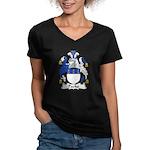 Packe Family Crest Women's V-Neck Dark T-Shirt