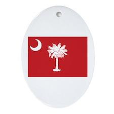 Red South Carolina Flag Oval Ornament