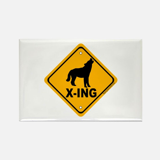 Wolf X-ing Rectangle Magnet (10 pack)