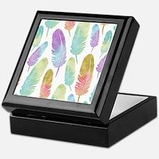 Boho Feather Pattern Watercolor Rainb Keepsake Box