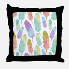 Boho Feather Pattern Watercolor Rainb Throw Pillow