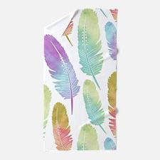 Boho Feather Pattern Watercolor Rainbo Beach Towel