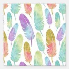 "Boho Feather Pattern Wat Square Car Magnet 3"" x 3"""