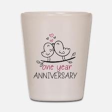 1st Anniversary Cute Couple Doodle Bird Shot Glass