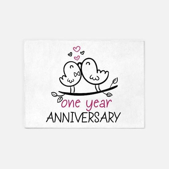 1st Anniversary Cute Couple Doodle 5'x7'Area Rug