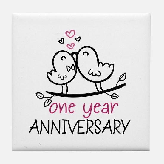 1st Anniversary Cute Couple Doodle Bi Tile Coaster