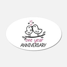 1st Anniversary Cute Couple Wall Decal