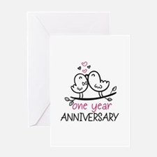 1st Anniversary Cute Couple Doodle B Greeting Card