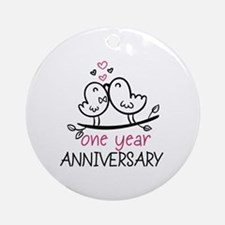 1st Anniversary Cute Couple Doodl Ornament (Round)