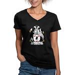 Newcomen Family Crest Women's V-Neck Dark T-Shirt