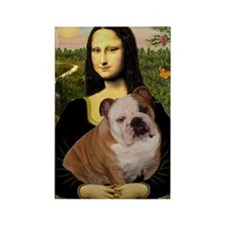 Mona Lisa & English Bulldog Rectangle Magnet