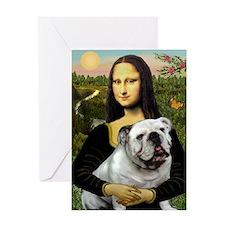 Mona & English Bulldog Greeting Card