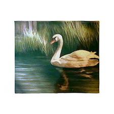 Swan Painting Throw Blanket