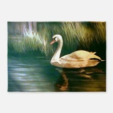 Swan Painting 5'x7'Area Rug