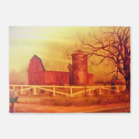Midwest Barn Painting 5'x7'Area Rug
