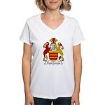 Muschamps Family Crest Women's V-Neck T-Shirt
