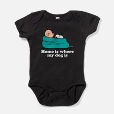 Charlie Brown: Home is Where My Dog Baby Bodysuit