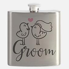 Groom Wedding Cute Birds Flask