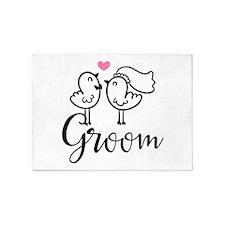Groom Wedding Cute Birds 5'x7'Area Rug