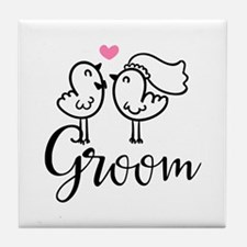 Groom Wedding Cute Birds Tile Coaster
